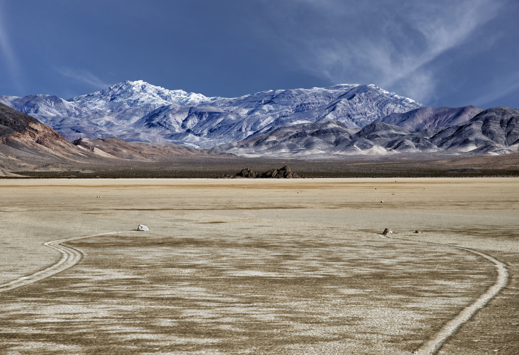 The roaming rocks on the Racetrack Playa in the northern part of Death Valley National Park.