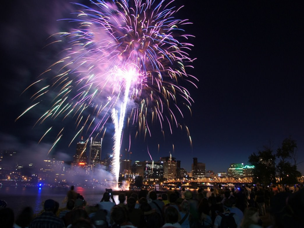 The Waterfront Blues Festival offers the largest fireworks display in Portland, but the city is awash in fireworks on Independence Day.