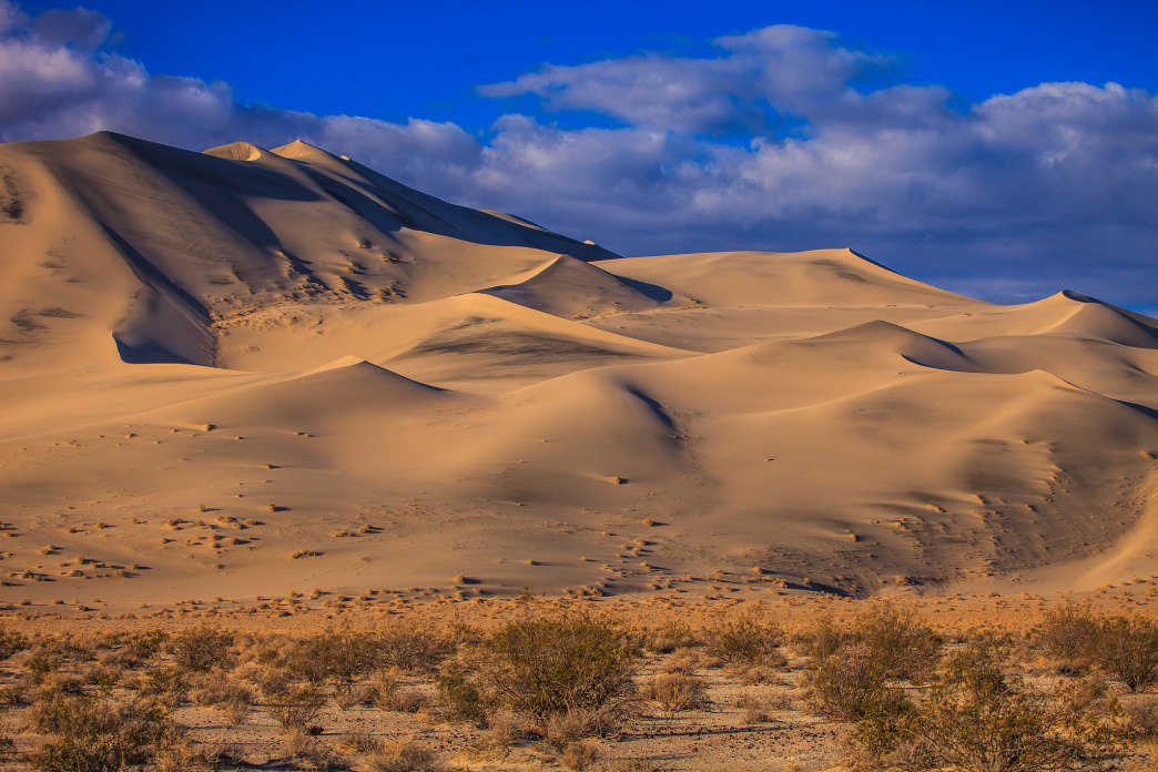 Death Valley's Eureka Dunes at golden hour.