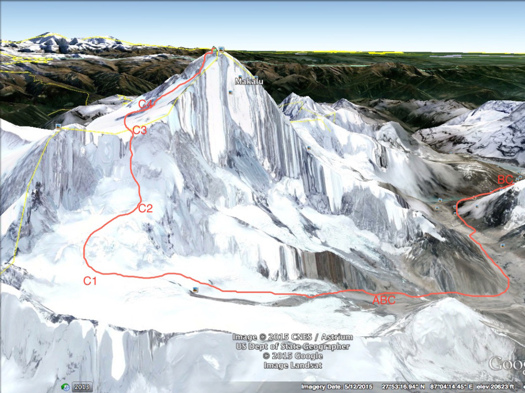 This rendering show's the team's planned route on Makalu.