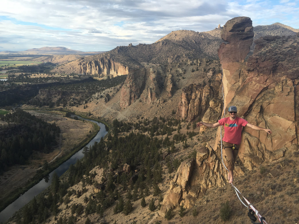 DeLashmutt on the highline at Smith Rock.