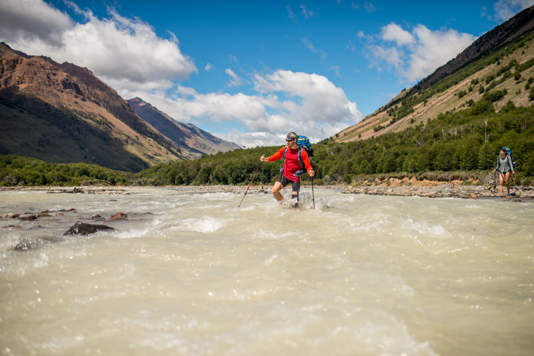 One of the many chilly river crossings in the Aysén backcountry.