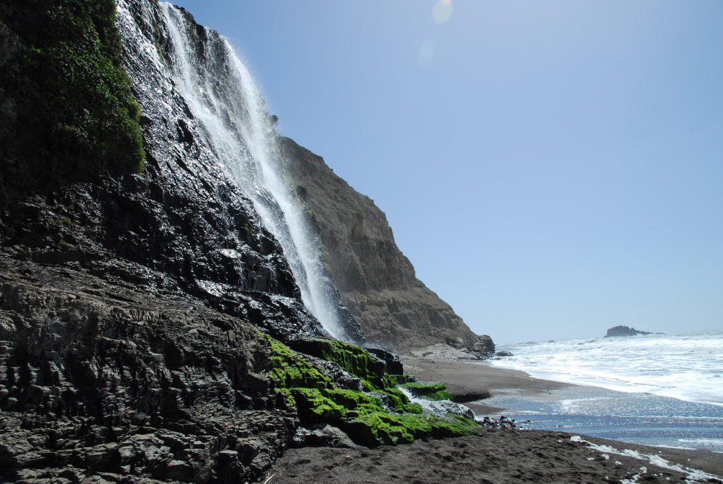 The unique falls at Alamere pour directly into the Pacific Ocean.