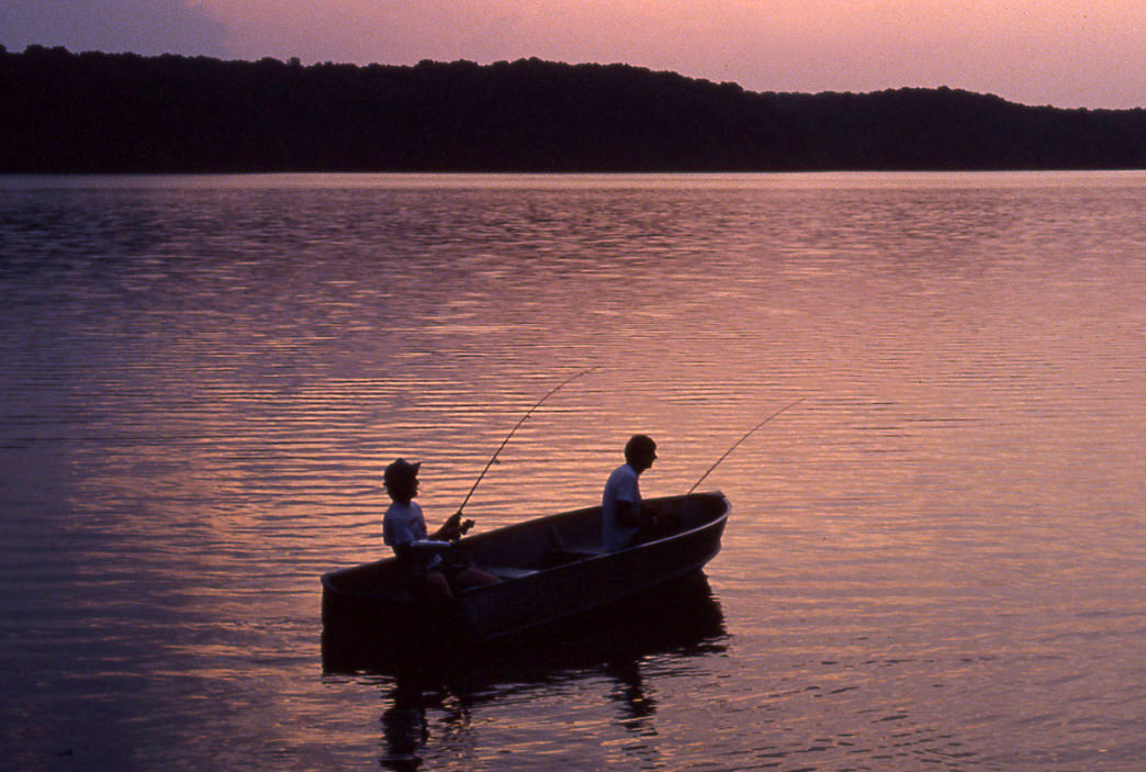 Fishing on Kentucky Lake at sunset is a wonderful way to end your day.