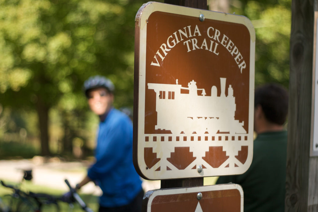 Wide paths and frequent gathering spots along the way make the Virginia Creeper Trail a true social ride.