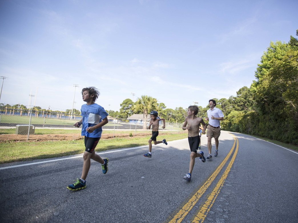 Young Triathlete train for near the Island Rec Center