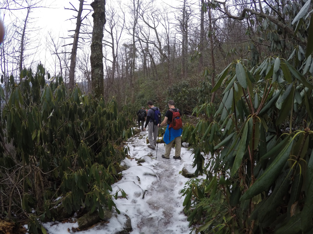 Ice slicked trails make hiking poles a near necessity in the gorge
