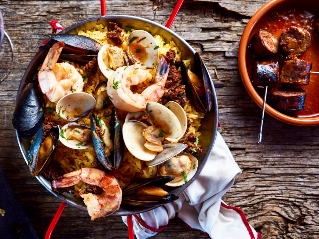 A tempting serving of paella at Alcazar Tapas Bar.