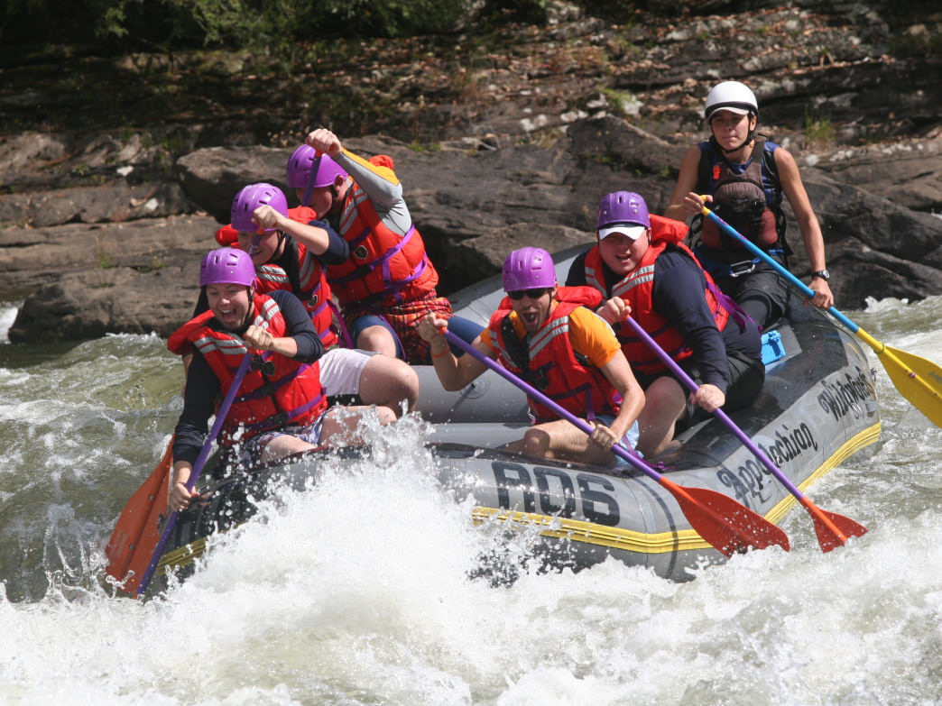 Rafters battling the rapids of the Gauley River.