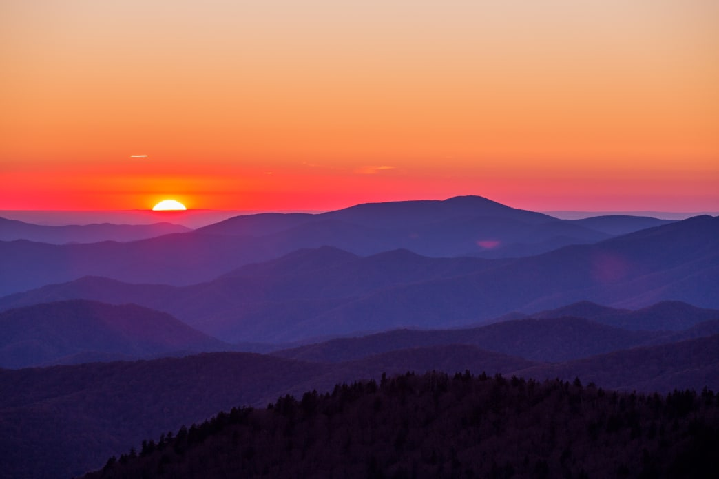 Beautiful sunset seen atop Clingmans Dome.