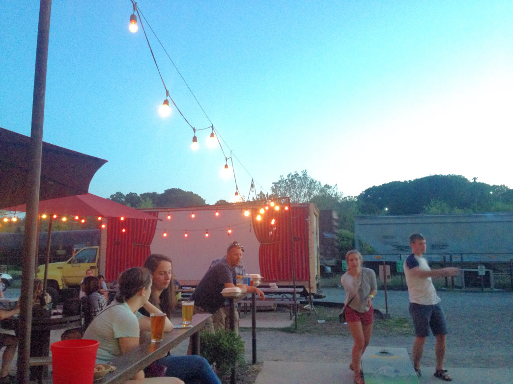 Having fun at the Wedge Brewery along the French Broad River in Asheville.