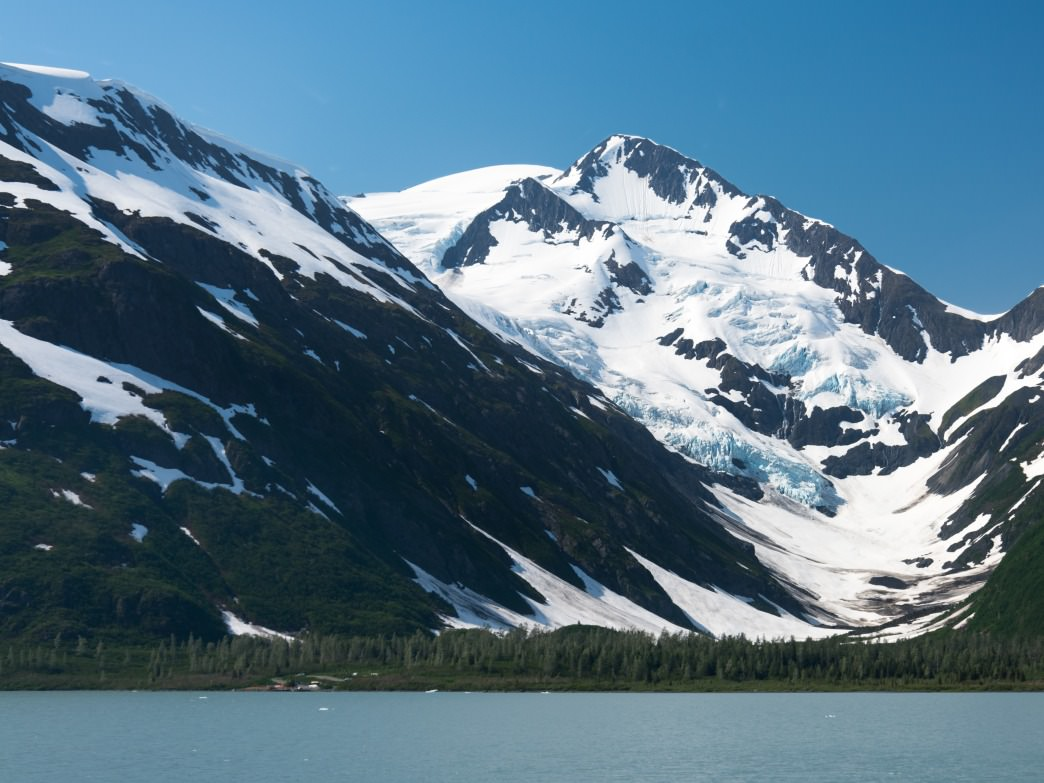 A beautiful view of Byron Glacier over Portage Lake.