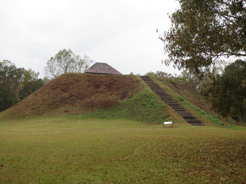 A view of the tribal leaders mound towering over Moundville Archaeological Park. These mounds, some 40+ feet tall, were built completely out of dirt by hand.
