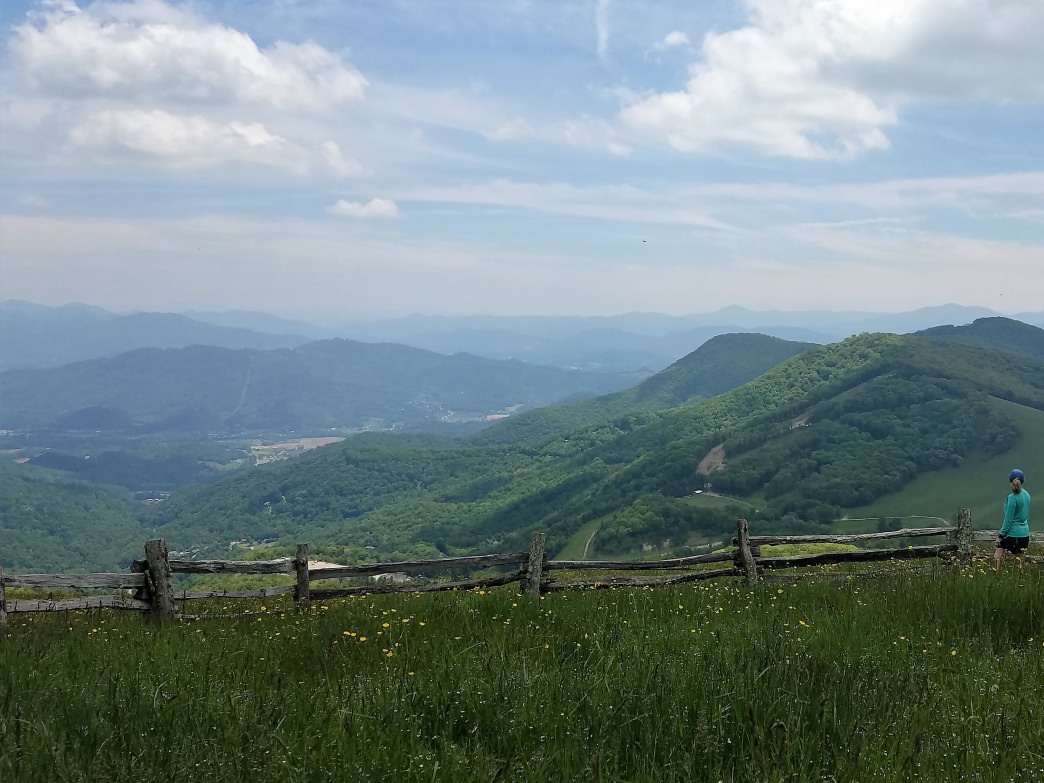 The fenced-in pasture on top of Hemphill Bald is one of the best lunch spots in the southeast.