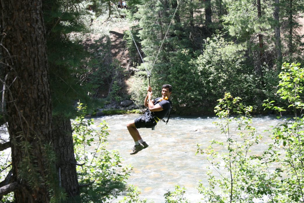 The Soaring Tree Top Adventures course includes zipping over the Animas River.