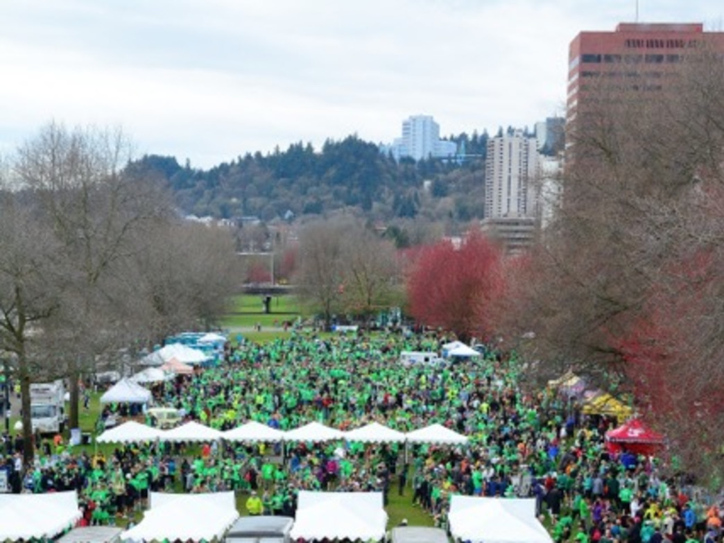 Runners and walkers take part in post-Shamrock Run festivities.