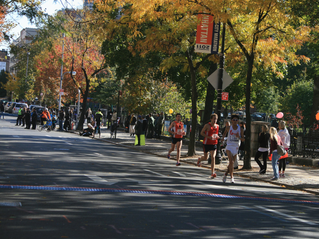 Fast runners and fall leaves at the NYC Marathon