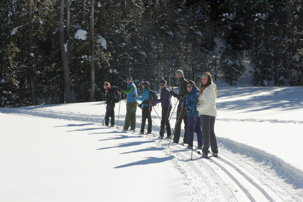 A great way to explore Yellowstone in the winter is via cross country skis.