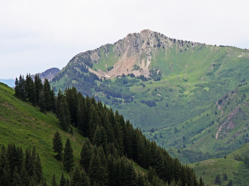 View of Mount Raymond from a peak above Desolation Lake. Big Cottonwood Canyon, Utah