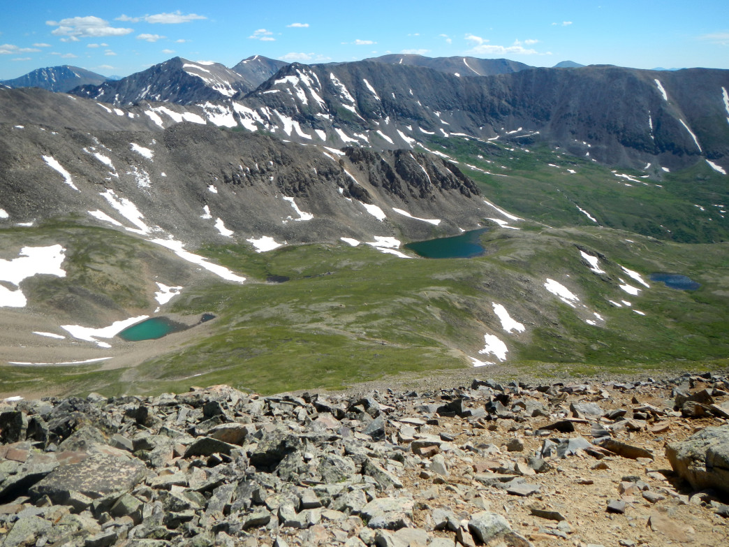Cooney Lake (center lake) as seen from high on Mosquito Peak.