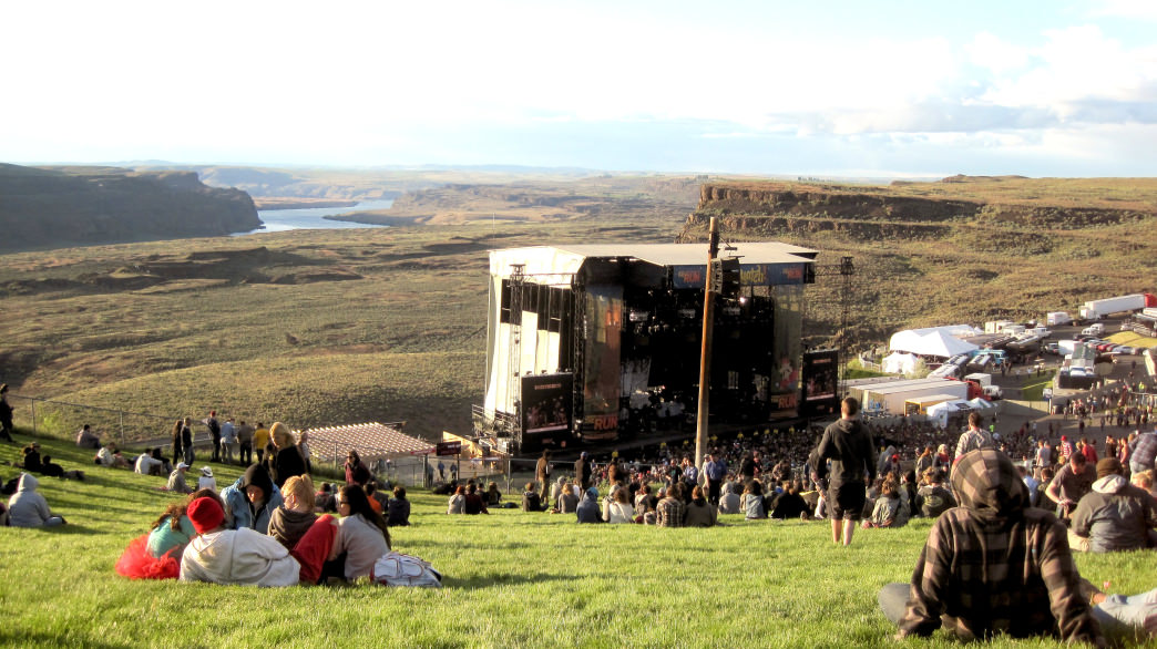 Taking in the incredible scenery of the Gorge Ampitheatre.