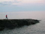 Rock jumping along Superior