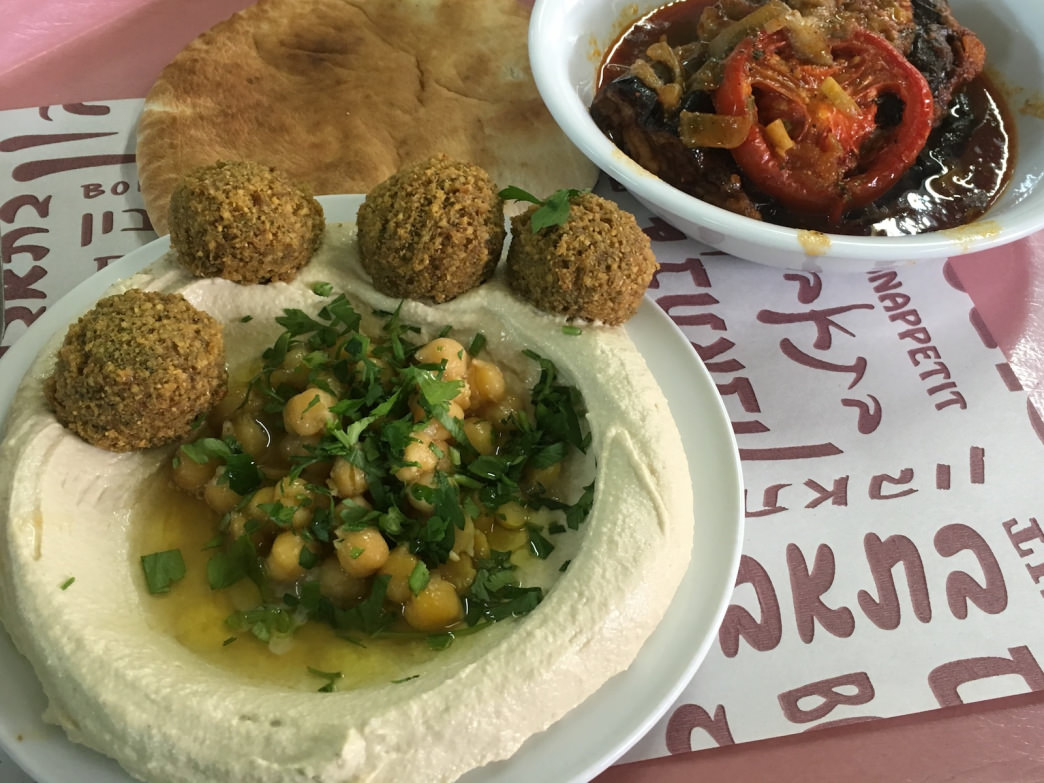 Replenish your energy stores with a hearty meal of falafel, hummus, and roasted vegetables. Yum.