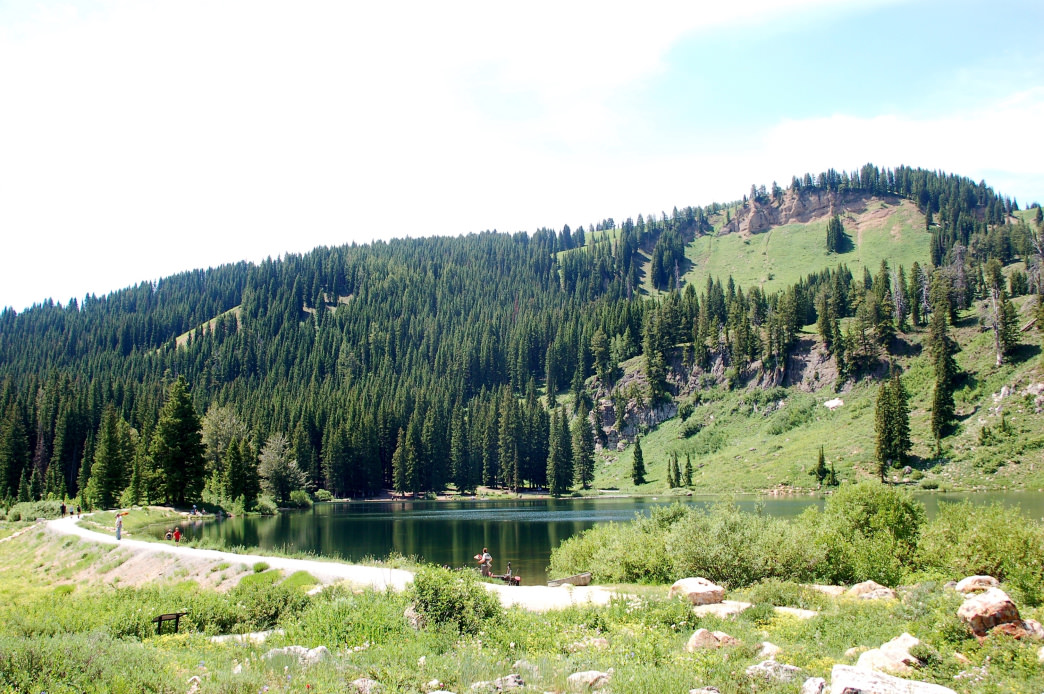 Tony Grove Lake is an excellent camping spot, with hiking trails as well as fishing and paddling in the glacial waters.