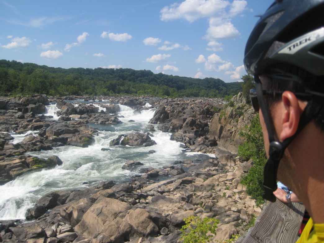 Biker stops for a well-earned break at the Great Falls overlook in Virginia