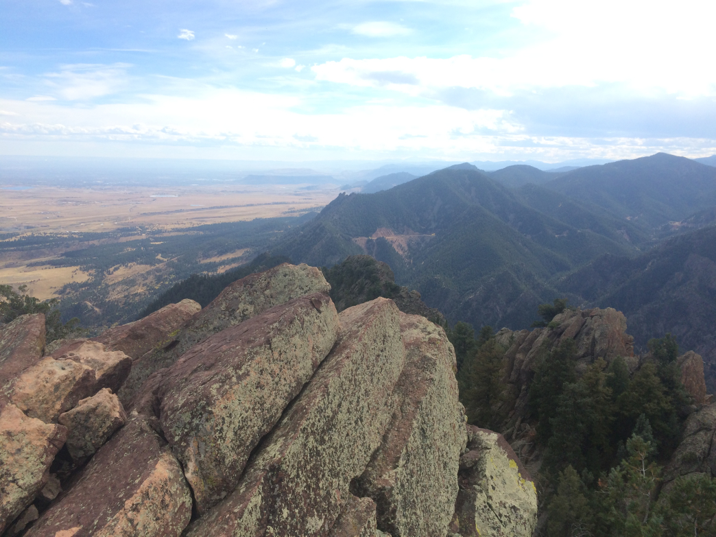 From the top of South Boulder Peak, you can see into Eldorado Canyon.
