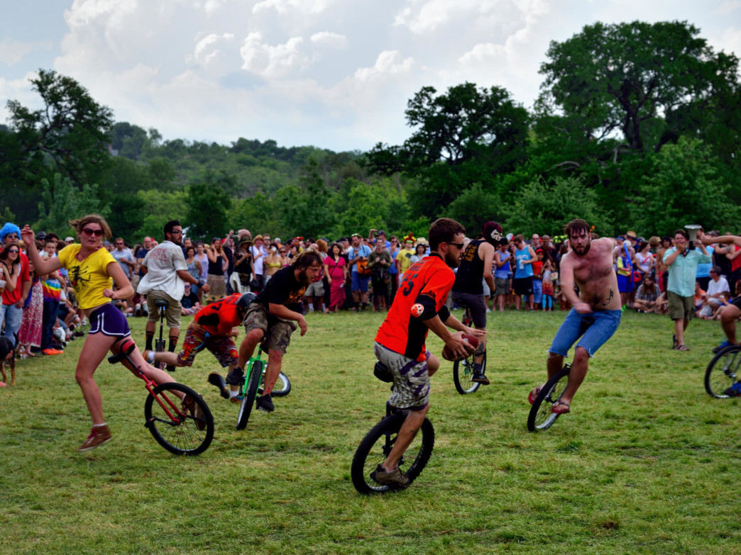 Unicycle Football at Eeyore's Birthday Party in Austin