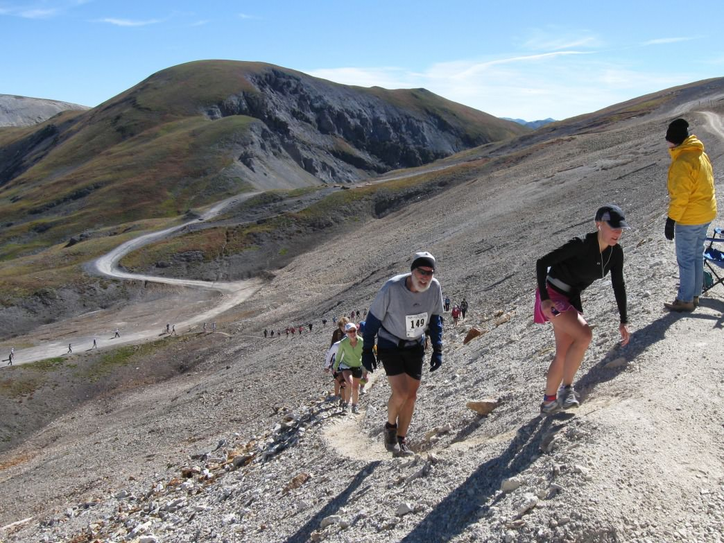 Runners in the 2008 Imogene Pass Run climb the final steps to the top of the pass, 13,114 feet.