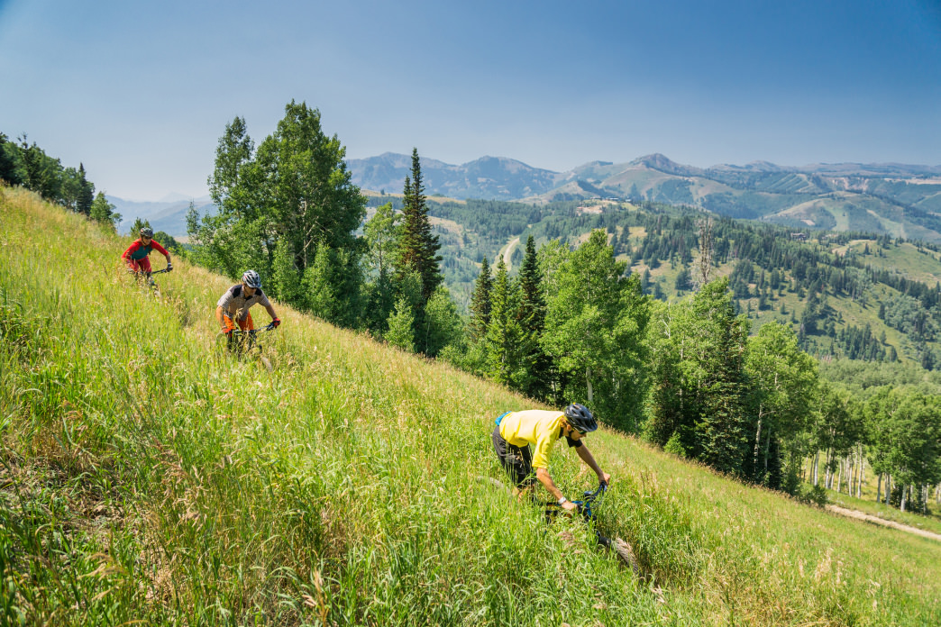 Riding on classic Deer Valley singletrack.