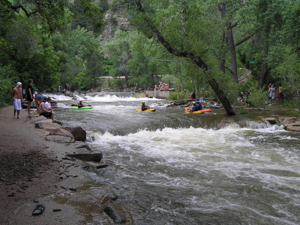 Kayakers have a blast navigating the Boulder Creek Whitewater Course.