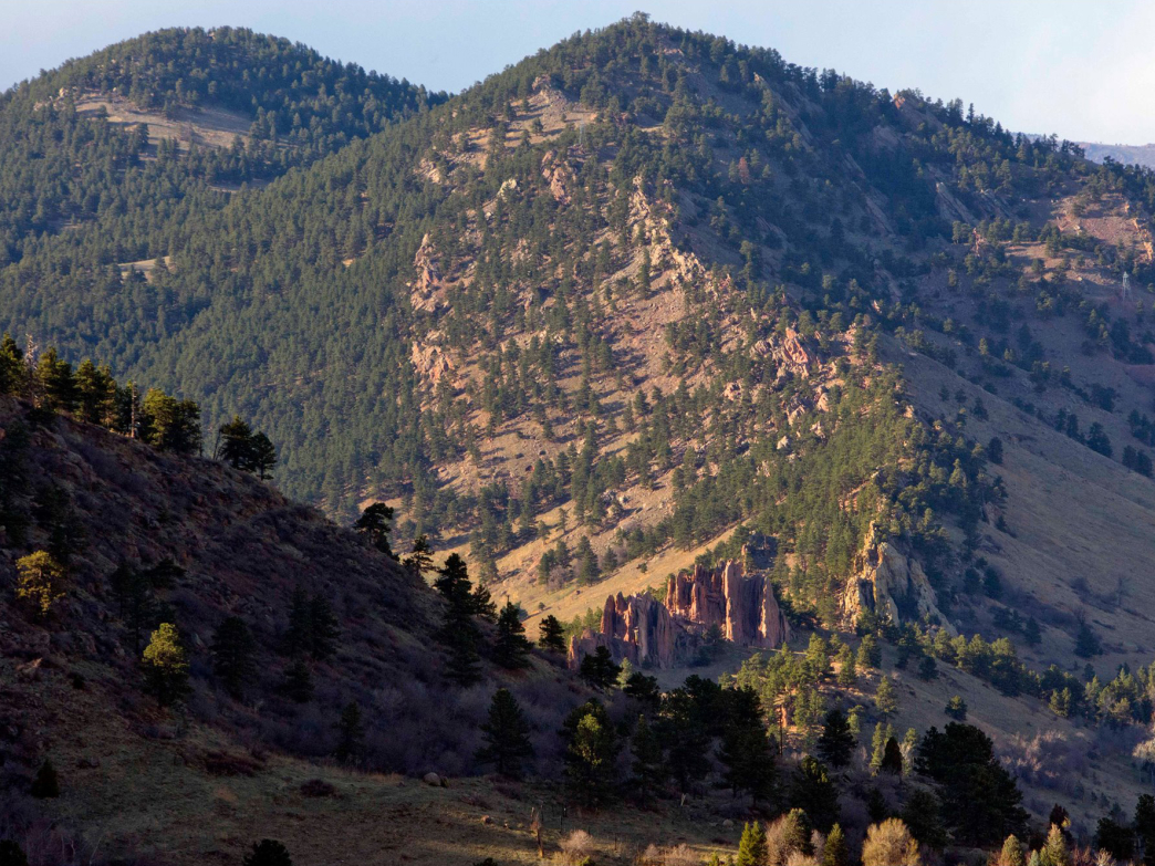The Mount Sanitas Trail follows a steep spiny ridge from the south.