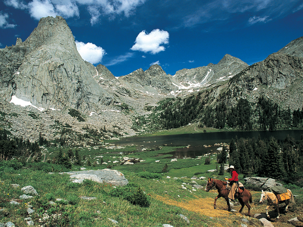 Horsepacking is a unique way to explore the beautiful mountains in the Dubois area.