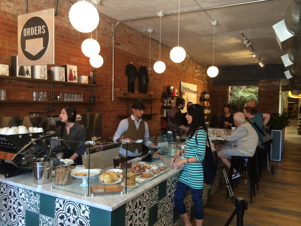 Boxcar Coffee Roasters charms with exposed brick walls and tasty pastries.