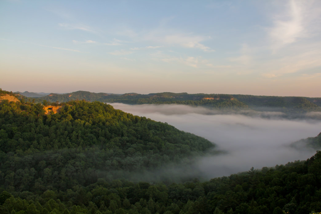 Sunrise over the Red River Gorge from Auxier Ridge.
