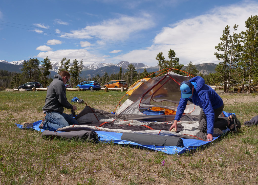 Setting up camp at Glacier Basin Campground in Rocky Mountain National Park.      Barry Staver