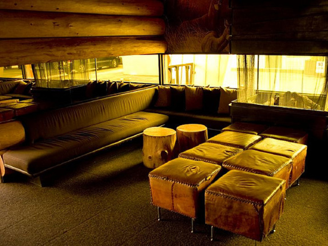 The Doug Fir Lounge provides patrons with a fireplace and cozy atmosphere.