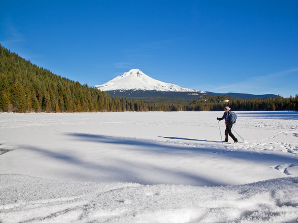 The loop around Trillium Lake is popular with snowshoers and cross-country skiers alike.