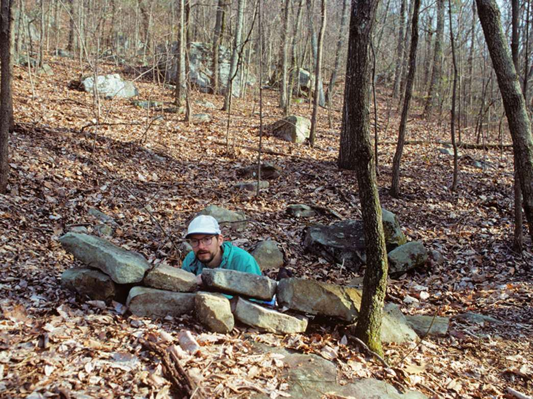 """Terry Hamrick in a """"rift pit"""" a half mile from Cravens House."""
