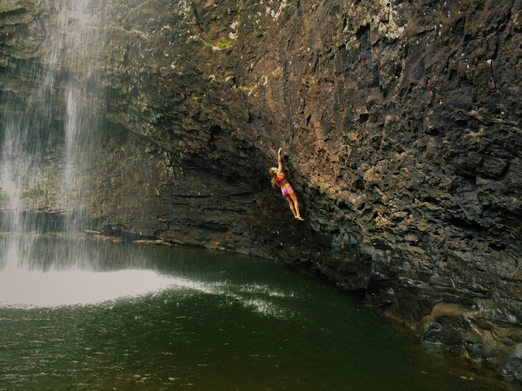 Climbing and swimming at Foster Falls, just 40 minutes from downtown Chattanooga.