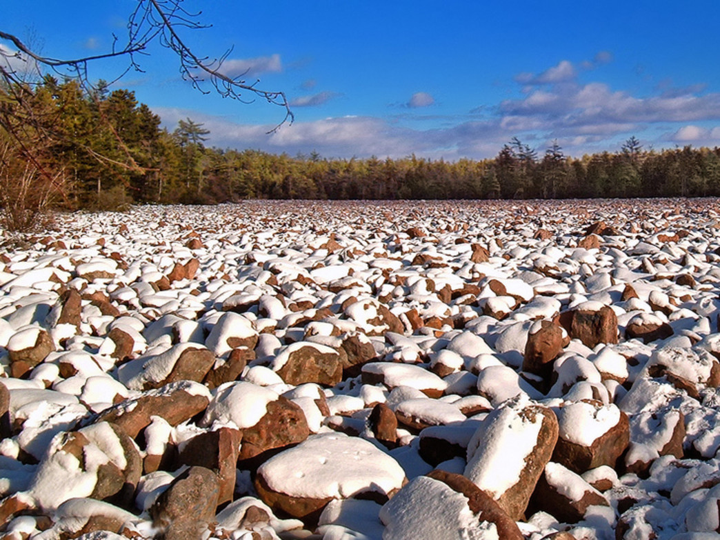 The Boulder Field in Hickory Run State Park in winter