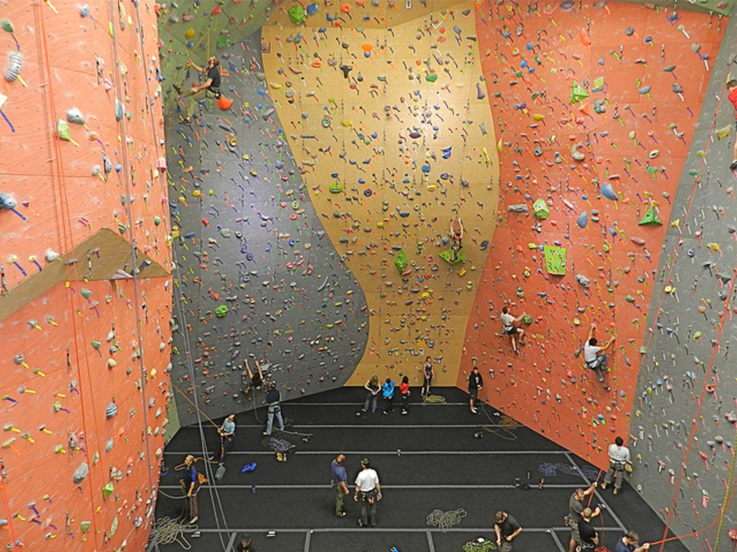 Climbers scale the walls at Vertical World.