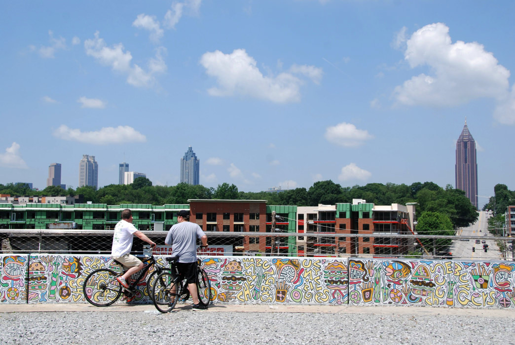Atlanta's BeltLine is a multi-purpose trail that connects neighborhoods throughout the city, with stops at various shopping and retail areas.     Blane Bachelor