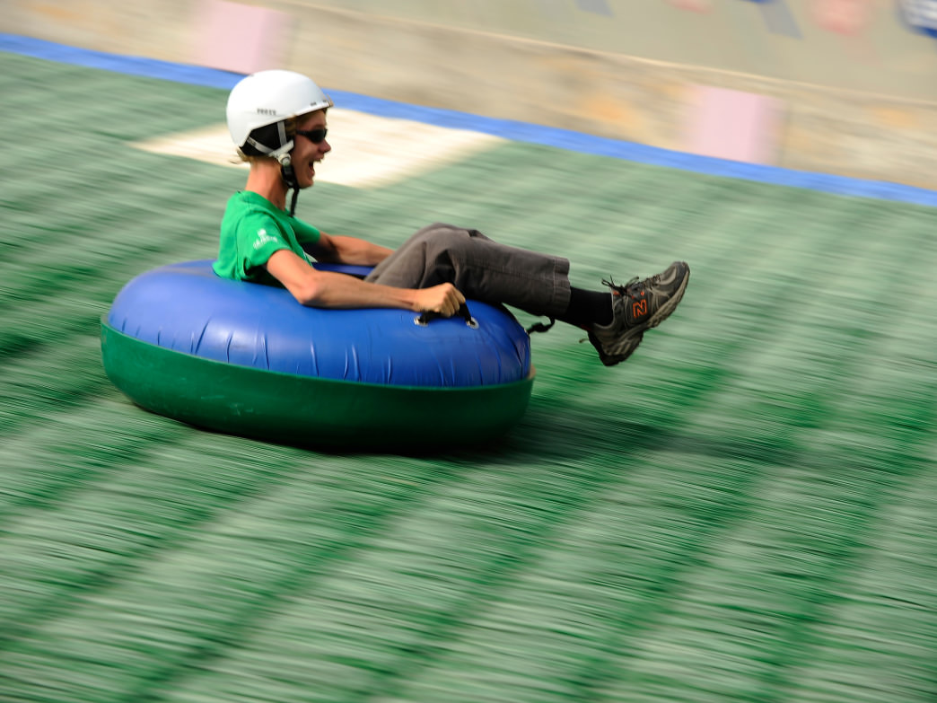 Take on Extreme Tubing, which runs down the landing hill for the ski jump.