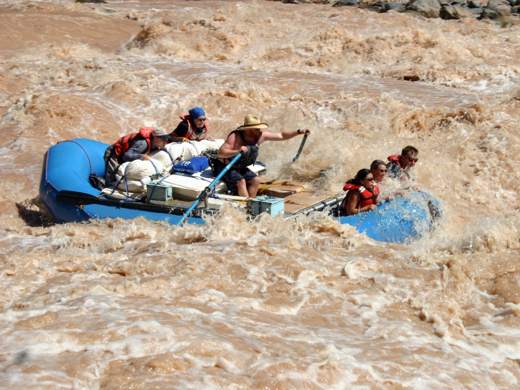 Boaters running Lava Falls Rapid on the Colorado River.