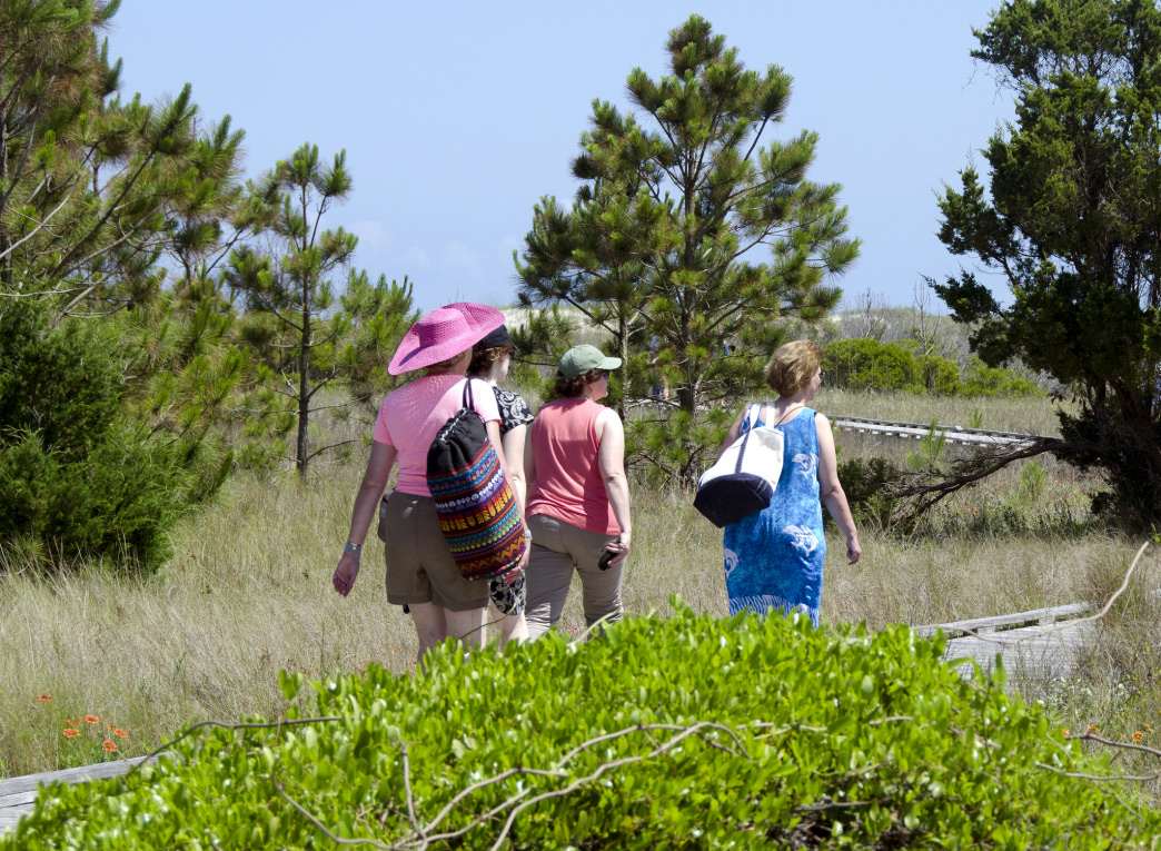 Walking to Cape Lookout National Seashore, North Carolina.