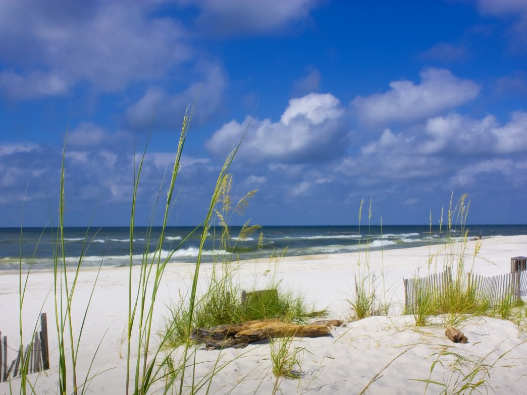Topping the list of Gulf Shores experiences you can't miss, the beautiful white beaches.
